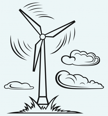 wind turbines: Windmill and clouds isolated on blue background