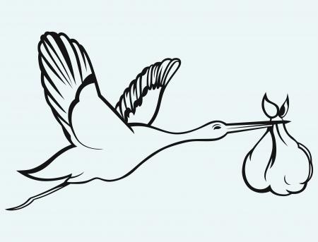 lamelligerus: Cicogna con il bambino isolato su sfondo blu Vettoriali