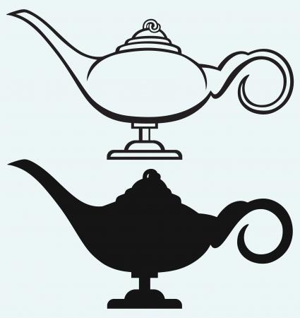 genio de la lampara: L�mpara de Aladdin aislado en fondo azul Vectores