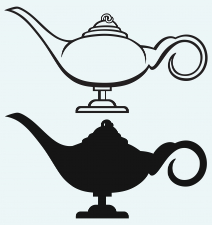 genie lamp: Lamp Aladdin isolated on blue background