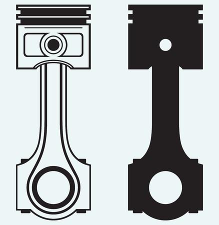 piston rod: Single Engine piston isolated on blue background Illustration