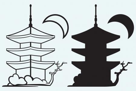 Pagoda arquitectura Japón silueta aislados sobre fondo azul