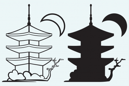 chinese temple: Pagoda  Japan architecture silhouette isolated on blue background