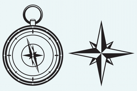 compass rose: Black wind rose and compass isolated on blue background