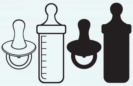 Baby-Schnuller und Flasche auf blauem Hintergrund isoliert
