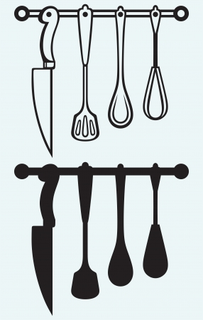 Rack of kitchen utensils isolated on blue background Vector