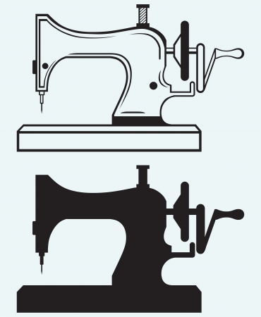 Antique Sewing Machine isolated on blue background Vector