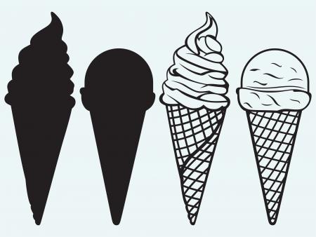 speiseeis: Eissorten in einem Waffeln isoliert auf blauem Hintergrund Illustration