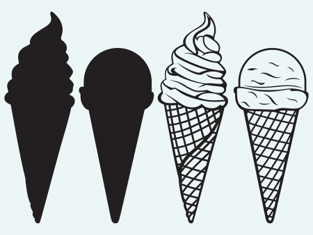 Sorts of Ice Cream in a waffles isolated on blue background Vector