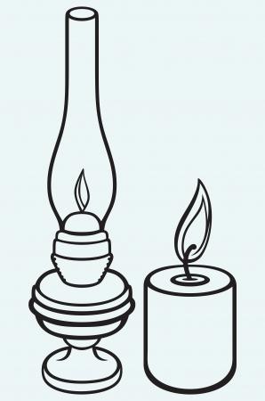 Kerosene lamp and candle isolated on blue background Stock Vector - 21398399