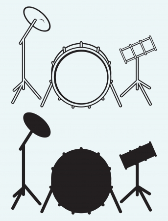 bass drum: Drums isolated on blue background