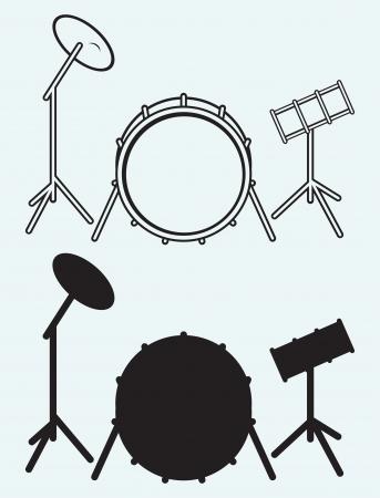 bateria musical: Los tambores aislados en fondo azul