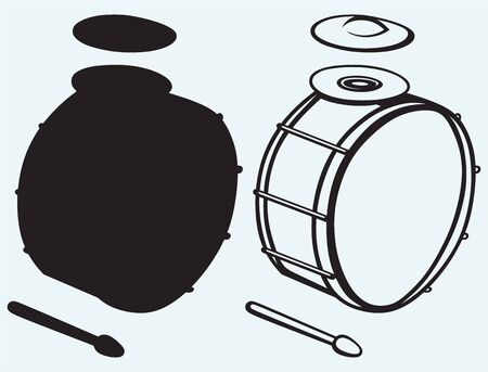 drum kit: Drums isolated on blue background