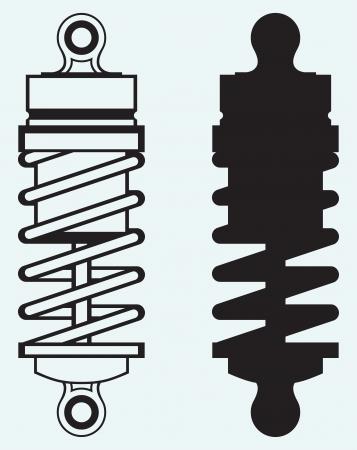 bobina: Amortiguador aislado en fondo azul