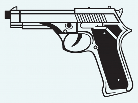 handguns: Gun icon isolated on blue background