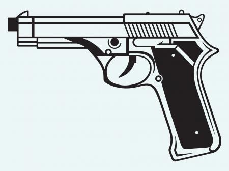 geweer: Pistool pictogram geïsoleerd op een blauwe achtergrond Stock Illustratie