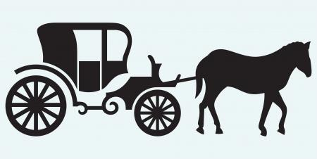 black horse: Carro Vintage y caballos aislados sobre fondo azul Vectores