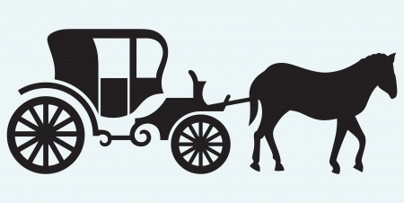 Vintage carriage and horse-drawn isolated on blue background Vector