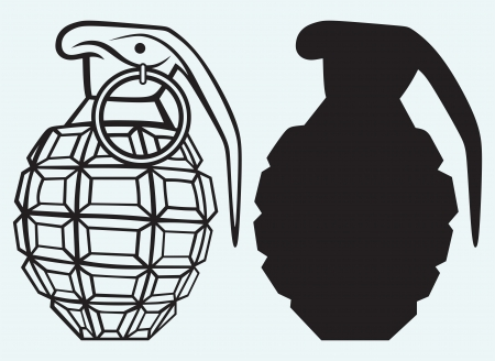 Image of an manual grenade isolated on blue background Vector