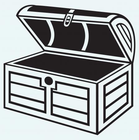 Vintage houten kist geïsoleerd op blauwe achtergrond Vector Illustratie
