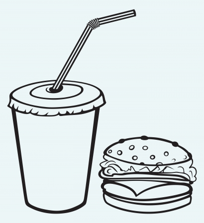 Hamburger with cola isolated on blue background Vector