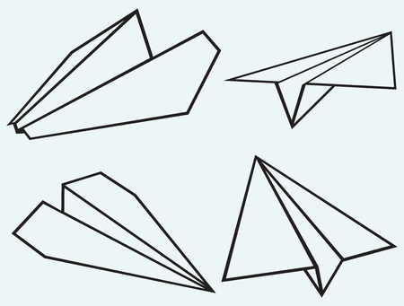 Paper plane isolated on blue background Vector