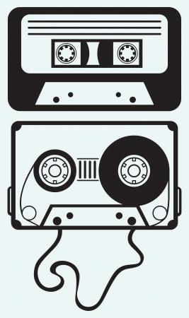 Audiocassetteband geïsoleerd op blauwe achtergrond Stock Illustratie