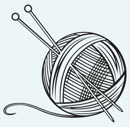 yarns: Ball of yarn and needles isolated on blue background
