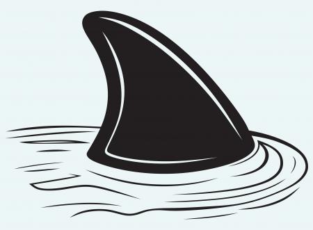 실루엣 상어는 파란색 배경에 고립 일러스트