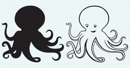 black octopus: Cartoon octopus isolated on blue background