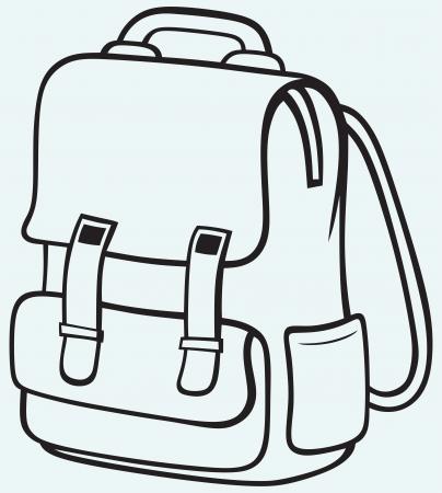 青色の背景に分離された学校のバッグ