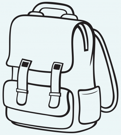 school backpack: School bag isolated on blue background Illustration