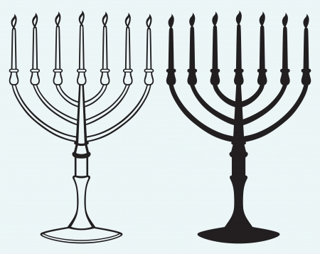 candelabrum: Hanukkah menorah with candles isolated on blue background