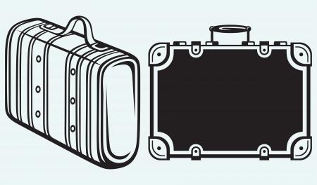 overnight: Viaggi Valigia isolato su sfondo blu Vettoriali