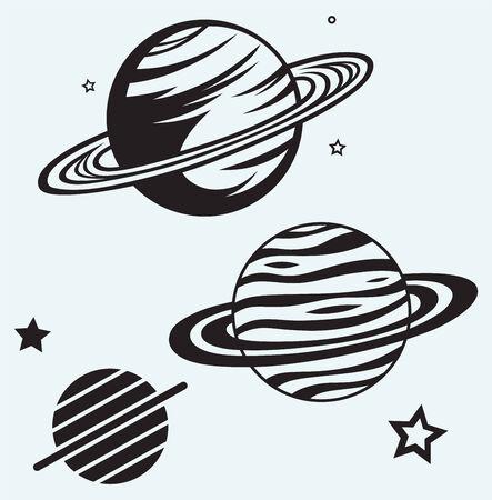Saturn Planet aislado en fondo azul
