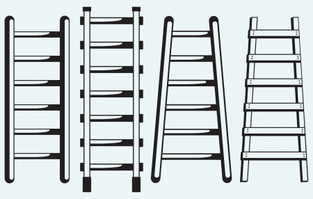 step ladder: Ladder against the wall isolated on blue background