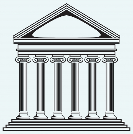 university building: Portico an ancient temple  Bank  Colonnade isolated on blue background
