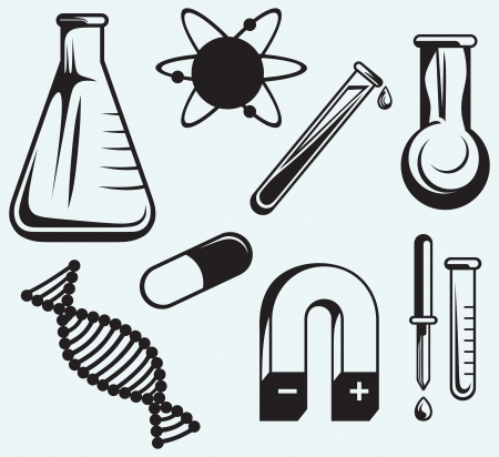 Biology, chemistry and physics isolated on blue background Stock Vector - 24325885