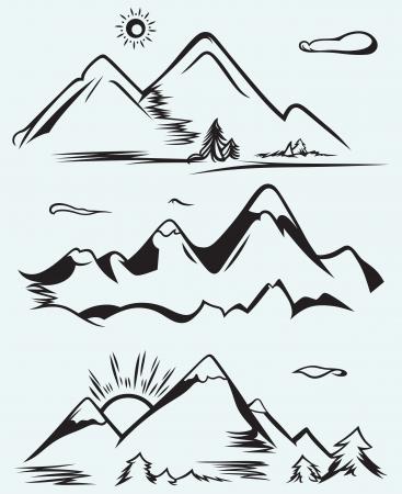 Mountain range isolated on blue background  イラスト・ベクター素材