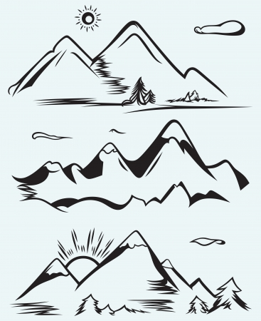 Mountain range isolated on blue background Vectores