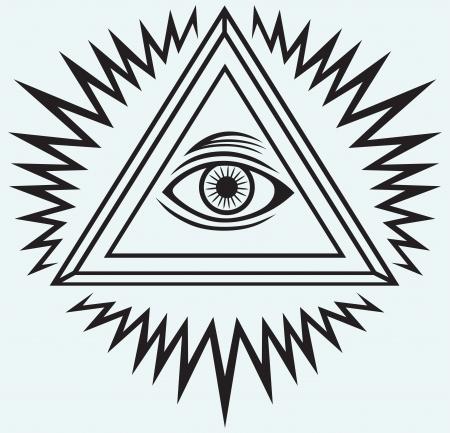 의식: 파란색 배경에 고립 된 모든 보는 눈