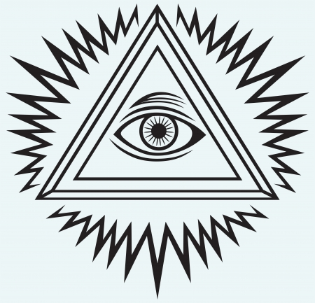 looking: All seeing eye isolated on blue background