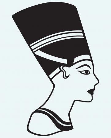 nefertiti: Silhouette Nefertiti isolated on blue background Illustration