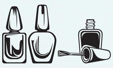 nail polish: Set of nail polish isolated on blue background Illustration