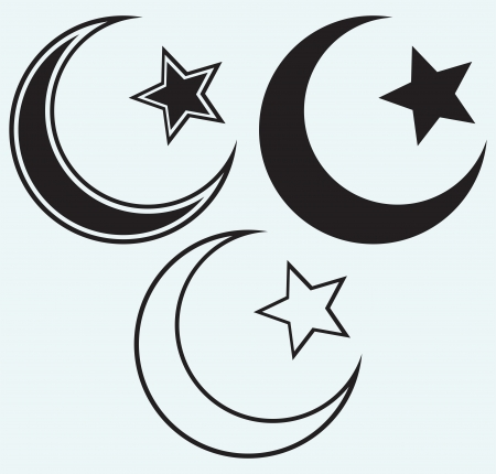 religious symbols: Religious Islamic Star and Crescent isolated on blue background