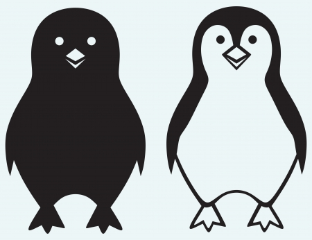 stencil art: Cartoon penguin isolated on blue background Illustration