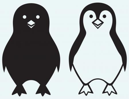 pinguino caricatura: Ping�ino de la historieta aislado en el fondo azul