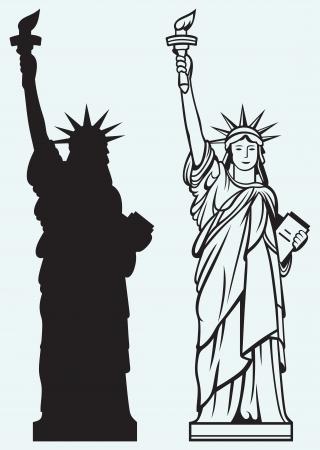 동상: 자유의 여신상은 파란색 배경에 고립