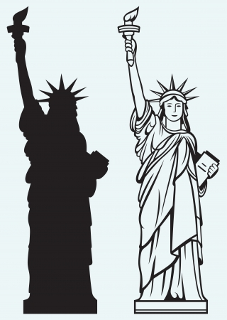 statue: Statue of Liberty isolated on blue background