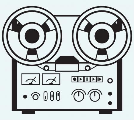 magnetofon: Kołowrotek magnetofon samodzielnie na niebieskim tle